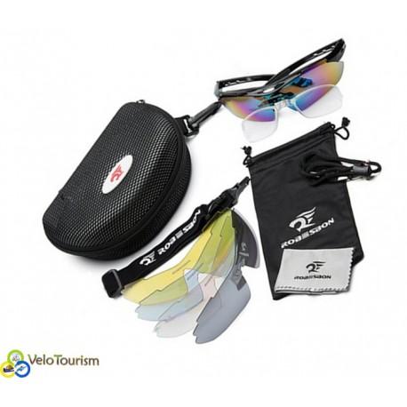 Велосипедные спортивные защитные очки Robesbon Black с 5-ю сменными линзами и жёстким чехлом