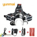 Мощный светодиодный налобный фонарь Yunmai 3*CREE XML T6