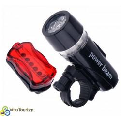 Набор: передний велофонарь + задний фонарик 5 LED